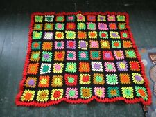 Vintage Hand-Made Crochet Knit Granny Square Afghan Throw Blanket Lap