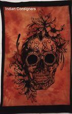 Floral Scull Art Wall Door Hanging Poster Tapestry Hippie Rasta Home Decor Youth