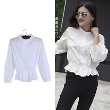 Women Hollow Out Ruffle Turtleneck Blouse White Slim Tops Puff Sleeve Fashion