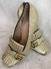 Gucci Loafer Pump Foil Gold GG Split Leather Thick Heel Size 40 NEW