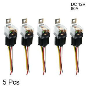 Waterproof DC 12V 80A SPST Auto Car Relay 4 Pin 4 Wires w/ Harness Socket 5pcs