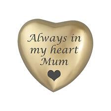 Always In My Heart Mum Golden Heart Urn Keepsake for Ashes Cremation