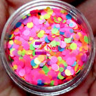 NEO MATTE Solvent Resistant Round 3D Nail Art Glitter Tips 1mm 2mm Mixed Pink