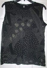 Josephine Chaus Black Geometric Polka Dot Tank Top Shell Sz M Medium EUC