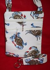 Handcrafted Crossbody Passport Bag Maryland Blue Crab Fabric Themed