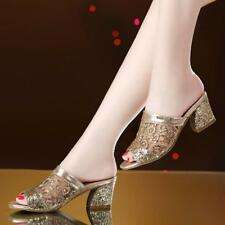 Sexy Women's Sequins Slip Ons Slippers Shoes Open Toe Chunky Heel Sandals