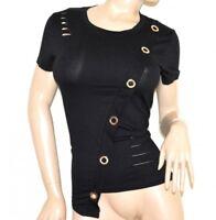 CHEMISE à manches courtes noir femme haut blouse coton élastique T-shirt G14