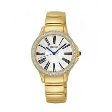 Seiko Swarovski SRZ442 P1 Gold/White Dial Women's Analog Quartz Watch