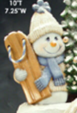 "Sparkle Snowman with Sled 8"" Ceramic Bisque, Ready to Paint"