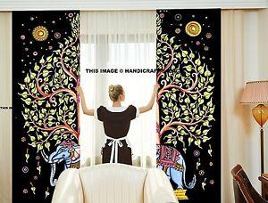 Indien Éléphant Mandala Coton Tapisserie Hippie Porte Cutain Décor Rideaux
