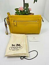 Coach Wristlet Legacy Large Yellow Leather Clutch Zip Top Tassels 48021 B28