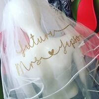 Personalised Veil Hen Party Glitter Design Heart Print Classy  Bride To Be