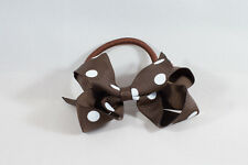 Unit of 10 Medium 3 Inch Brown with White spots Hair Bows on elastics Grosgrain