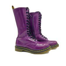 Dr Martens Purple 14 Eye boots 11820 Women's Size 7 US 5 UK Patent Pin Dot RARE