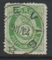 Norway - 1877/9, 12 ore Green stamp - Used - SG 55