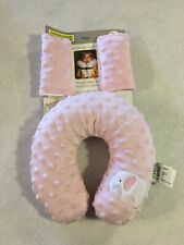 Blankets & Beyond Travel Pillow Seat Belt Covers Pink Soft Minky Elephant New