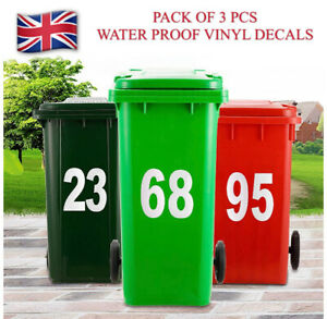Pack of 3 Pcs Wheelie Bin House Number Stickers Water Proof Large White Colors