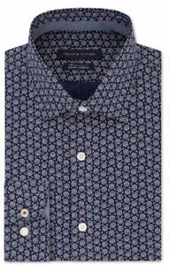 TOMMY HILFIGER Mens Navy Patterned Work Dress Shirt Size: L 16/16.5- 32/33