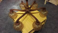 Kronleuchter/ Wohnzimmerlampe, nussbaum, antik