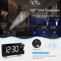 Multifunctional Projection Clock FM Radio Alarm Clock Curved-Screen Dual USB