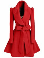 Red Wool Coat Gothic Elegant Vintage Brief Lapel Fashion Women Warm Jacket