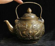 Chinese Folk Bronze lucky Auspicious Dragon Phoenix Wine Tea Pot Flagon Marked