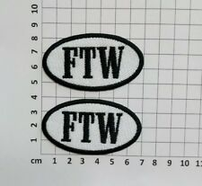 FTW - SET OF 2 - SMALL OVAL EMBROIDERY SEW ON PATCH - BLACK & WHITE