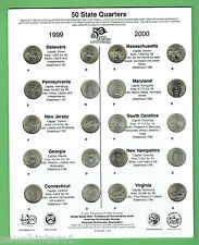 #T47. 1999/2000 USA ISSUE 10 STATES  P & D MINT 20 QUARTERS ON CARD