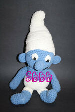 "Crocheted SMURF 16"" Doll Plush Blue White Yarn OOAK Stuffed Soft Toy Handmade"