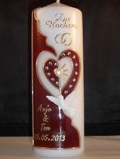 Hochzeitskerze  verschlungene Herzen mit Strasssteinen H 21   -57