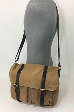 FOSSIL MEN'S CANVAS KHAKI & LEATHER MESSENGER CROSSBODY BAG