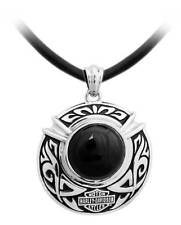 Harley-Davidson Men's Engraved Tribal Onyx Necklace, Sterling Silver HDN0411-22
