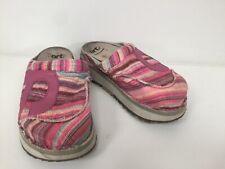 Women's Rare Design Fabric Art Sandals Mules Uk6 EU39 Flat Shoes Clogs Chunky