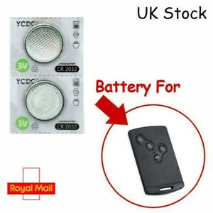 2 x Batteries Renault Koleos Captur Clio 4 Button Remote Key Card FOB CR2032