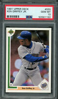 Ken Griffey Jr Seattle Mariners 1991 Upper Deck Baseball Card #555 Graded PSA 10