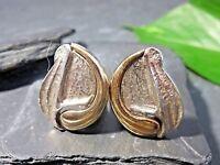 Ausgefallene 925 Silber Ohrringe Ohrclip Teilvergoldet Tolles Design Brutalist