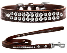 Faux Croc Leather Double Crystal Dog Collars and Leash Combo