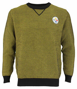 FOCO NFL Men's Pittsburgh Steelers Poly Knit Crew Neck Sweater, Yellow