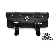 Skull Maltese Cross Leather Pouch Tool Roll Harley Yamaha Triumph Honda Suzuki