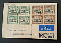 1952 Nairobi South Africa Royal Visit Multi Franked Airmail Registered Cover