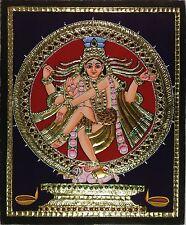Tanjore Nataraja Painting Handmade Indian Thanjavur Shiva Wall Decor Gold Art