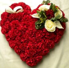 SILK FLOWER WREATH, LOVE HEART CUSHION ARTIFICIAL FUNERAL TRIBUTE, FOR GRAVES