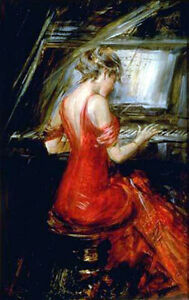 Giovanni Boldini The Woman in Red Handmade Oil Painting repro