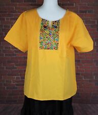 YELLOW PEASANT OAXACA MANTA HAND EMBROIDERED MEXICAN BLOUSE TOP 100% COTTON LG