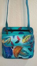 Anuschka Hand-Painted Leather Multi Pocket Travel Cross Body, Floating Feathers