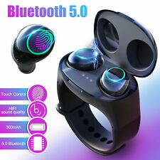2 in1 Tws Wireless Bluetooth 5.0 Headphone Sports Earbuds HiFi Headset Wristband