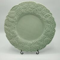 "Bordallo Pinheiro CELADON GREEN Under Plate CHARGER Leaves Vine 12.5"" Portugal"