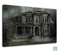 Scary Abandoned Haunted House And Stormy Sky Canvas Print Wall Art Picture