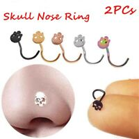 Thin Body Piercing Surgical Steel Nose Ring Screw Stud Nostril Hoop Skull Head