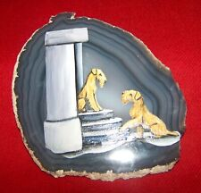 Irish Terrier Signed Painting On Blue Agate Geode Slice (M)
